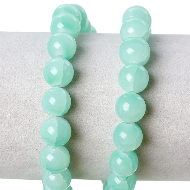10mm Pastel MINT GREEN Round Crackle Glass Beads, double strand, about 84 beads bgl1133