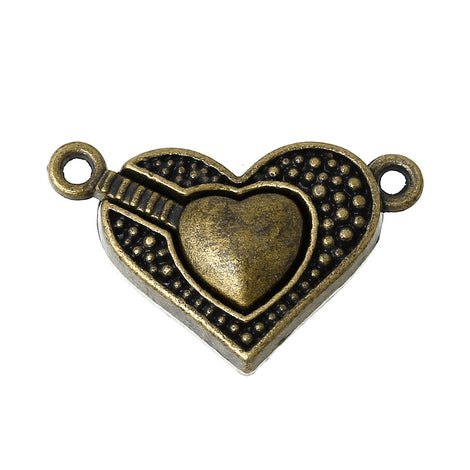 "2 Bronze Metal Magnetic HEART Clasps, 1"" long  fcl0129"