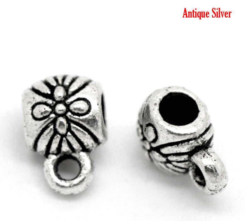 100 Silver Tone Bail Beads, flower pattern carved in the design, 9x6mm, fba0054
