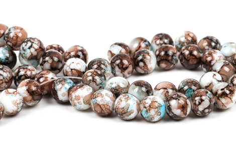 40 Round Glass Beads, white with turquoise blue and brown marbeling, marble pattern, 10mm bgl0020