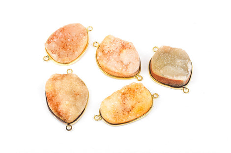 "1 PEACH DRUZY Gemstone Connector Link, GOLD Plated Bezel, 1.5"" long  gdz0051"