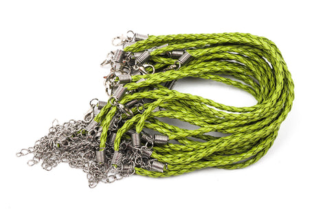 "20 LIME GREEN Leatheroid Bracelet Braided Cords with Lobster Clasp . 8"" long plus 2"" extender chain fch0231"