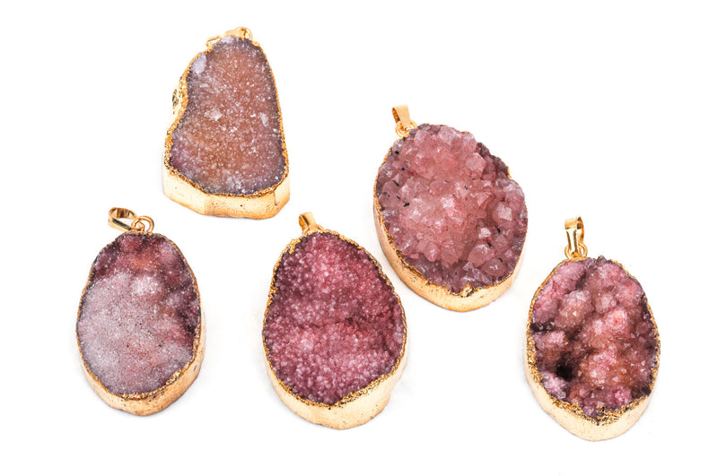 1 Rose Pink AGATE DRUZY Quartz Pendant, gold plated metal with bail   gdz0049