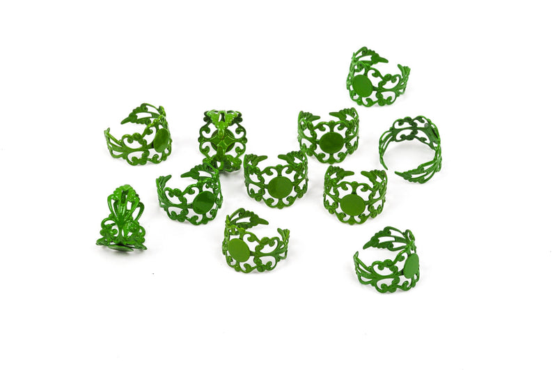 KELLY GREEN Filigree Ring Blanks, Enamel over Brass Metal Ring Blanks . fully adjustable sizing . 10 pieces . fin0072