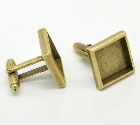 6 Square Cuff Link blanks, bronze plated bezel tray blanks, fits 14mm cabochons fin0395