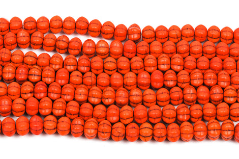 12mm Howlite PUMPKIN Beads, Orange, full strand, about 52 beads  how0361
