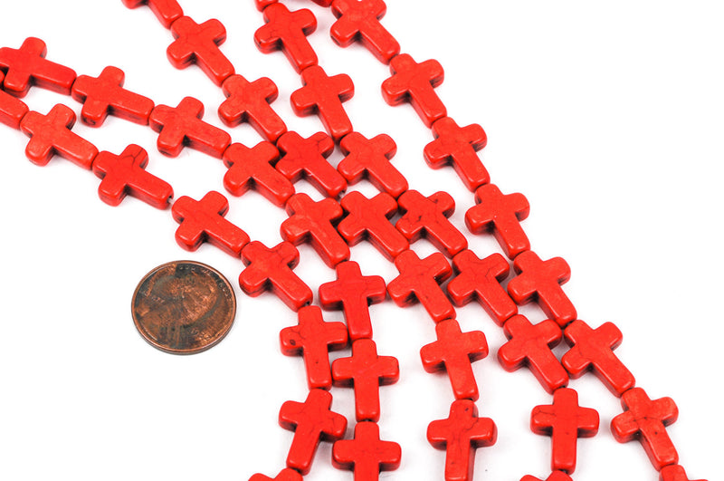 16x12mm Howlite CROSS Beads, RED ORANGE, full strand, about 25 beads  how0362