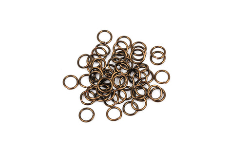 50 Chain Maille Jump Rings, bronze plated over copper base, open jump rings, 7.5mm OD, 5.5mm ID, 18 gauge, jum0114