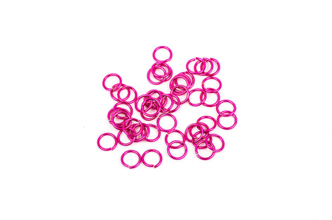 45 Chain Maille Jump Rings, hot pink plated over copper base, open jump rings, 8mm OD, 6mm ID, 18 gauge, jum0110
