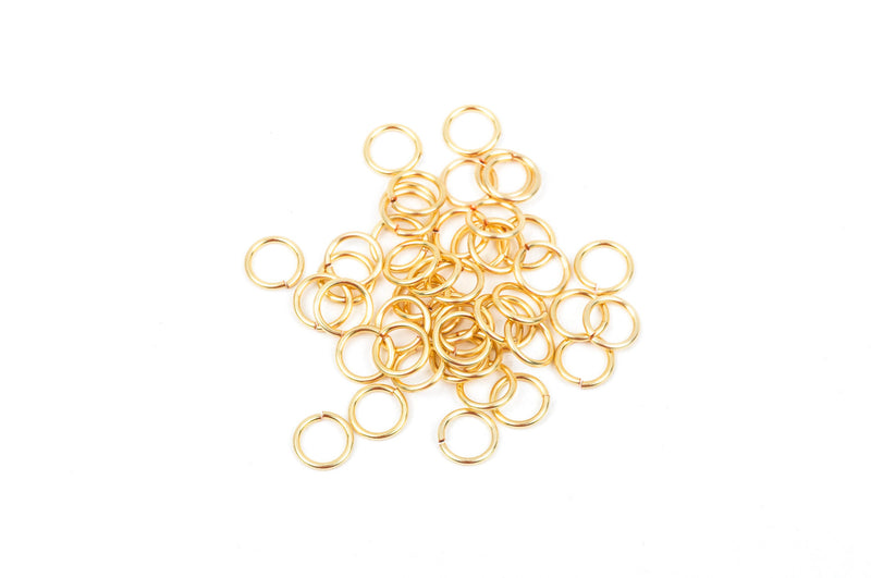 60 Chain Maille Jump Rings, gold plated over copper base, open jump rings, 6.5mm OD, 4.5mm ID, 18 gauge, jum0115