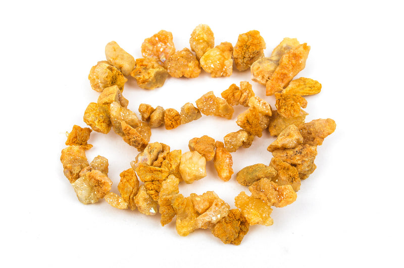 Half Strand Nugget Beads, Titanium Coated Crystal DRUZY AGATE Geodes, Golden Yellow gdz0065
