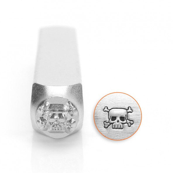 ImpressArt Metal Design Stamp,  6mm SKULL and CROSSBONES tol0295