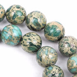4mm AQUA TERRA JASPER Round Gemstone Beads, natural, mint green, tan, full strand gja0062