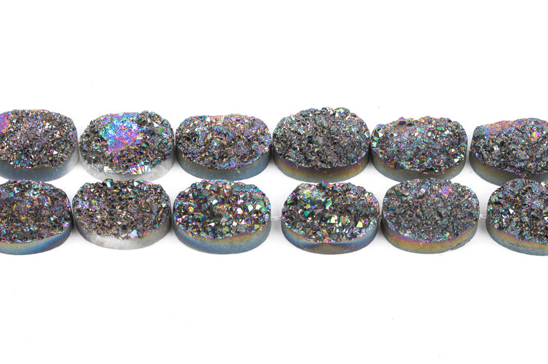 2 Mystic Rainbow AB Quartz DRUZY Drusy Pendant Beads, oval shape, natural gemstones, 17x12mm, gdz0140