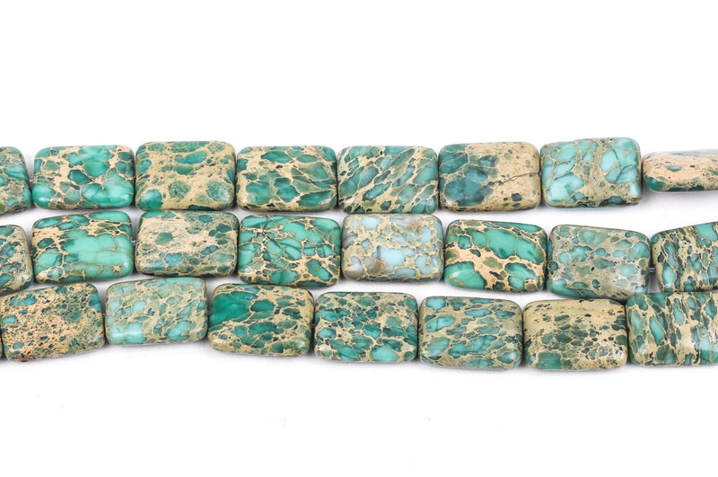 18x14mm AQUA TERRA JASPER Rectangle Gemstone Beads, natural, mint green, tan, full strand gja0064