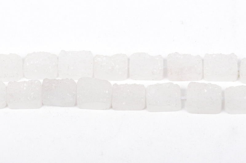 2 White Druzy Natural Quartz Rectangle Gemstone Beads, frosted, 18-19mm long x 14mm wide, gdz0073