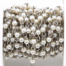 1 yard White Pearl Rosary Chain, silver, 4mm round glass pearl beads, fch0235a
