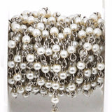 13 feet spool yard White Pearl Rosary Chain, silver, 4mm round glass pearl beads, fch0235b