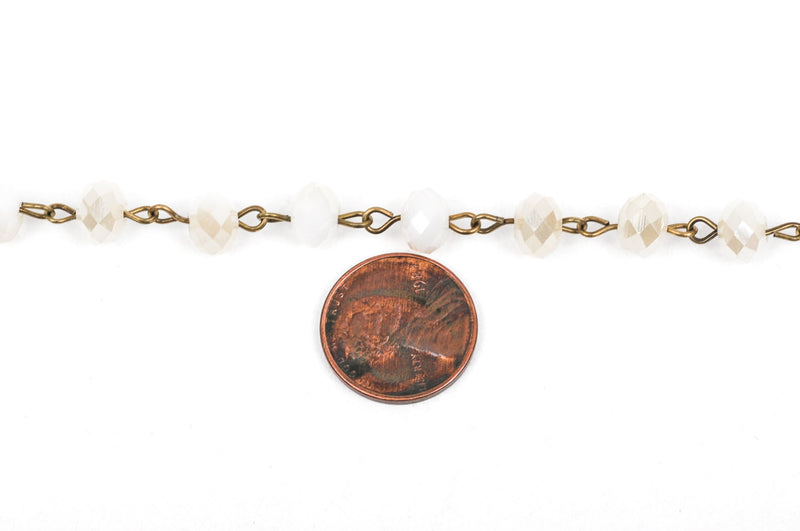 13 feet (4 meters) White Crystal Rondelle Rosary Chain, bronze, 8mm faceted rondelle glass beads, fch0239b