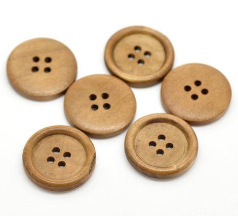 "50 Large Wood Buttons, 25mm or 1"" diameter cherry wood color, but0220"