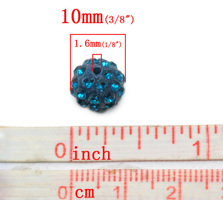 10 Bulk Package TEAL BLUE Polymer Clay and Pave' Rhinestone Round Beads, 10mm  pol0111