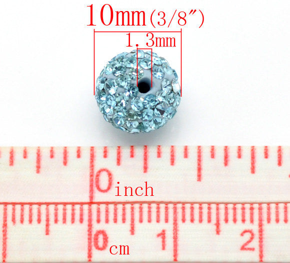 10 Bulk Package TURQUOISE BLUE Polymer Clay and Pave' Rhinestone Round Beads, 10mm  pol0112