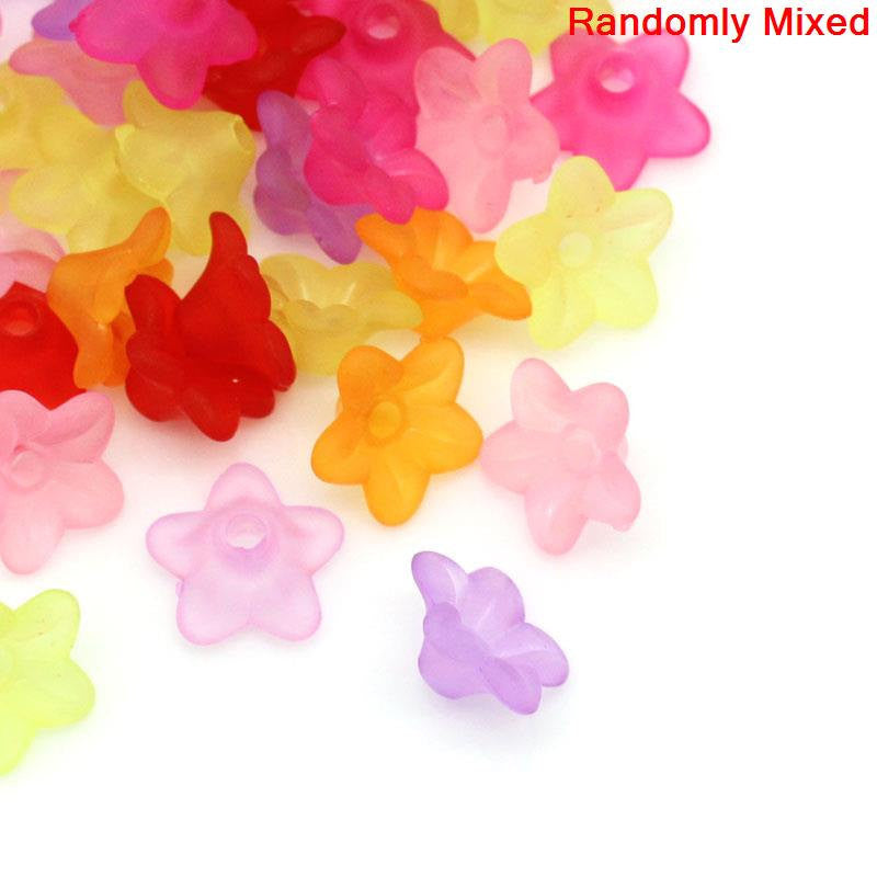 Small Frosted Acrylic FLOWER Lily Charm Beads . 50 pieces .  mixed colors bac0106A