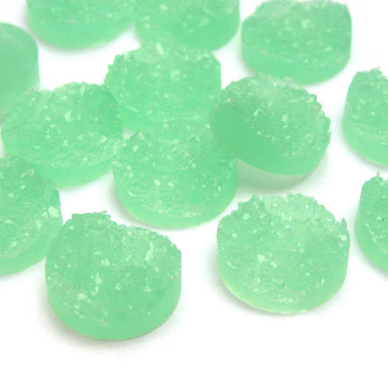 10 Round Resin MINT GREEN DRUZY Cabochons, 12mm  cab0278