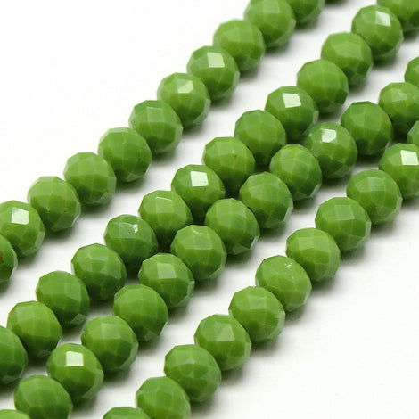 4mm Avocado Green Crystal Rondelle Glass Beads, kelly green, 4x3mm, full strand, bgl1142