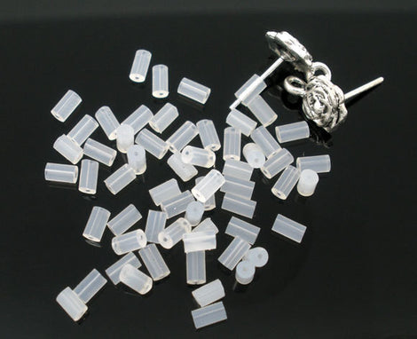 50 White Tube Rubber EARRING BACKS, stoppers, 4x2mm  (25 pairs)  fin0408