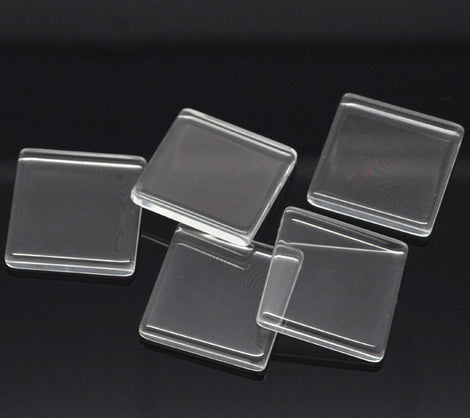 "10 Clear Flat SQUARE Tile Glass Seals 25x25mm (1"") for Cabochons Pendants, Charms, Scrapbooking  fin0400"