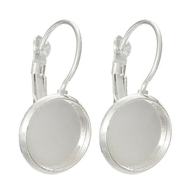 10 (5 pairs) silver plated cabochon bezel setting lever back earring components, fits 12mm round inside tray fin0403a