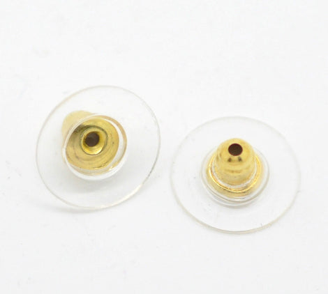 Earring Backs for post earrings . gold plated ear nuts . disc style  50 pieces (25 pairs)  fin0407