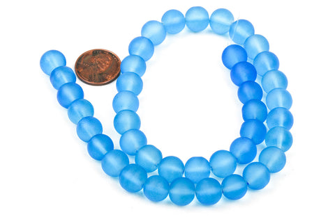 1 Strand Frosted Medium BLUE Glass Beads 8mm, full strand, about 52 beads,  bgl1147