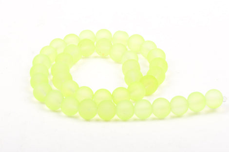 10mm Frosted BRIGHT NEON YELLOW Glass Beads, full strand, about 40 beads,  bgl1156