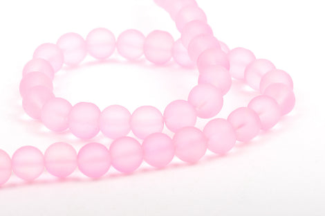 10mm Frosted LIGHT PINK Glass Beads, full strand, about 40 beads,  bgl1155