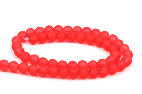 10mm Frosted BRIGHT RED Glass Beads, full strand, about 40 beads,  bgl1152