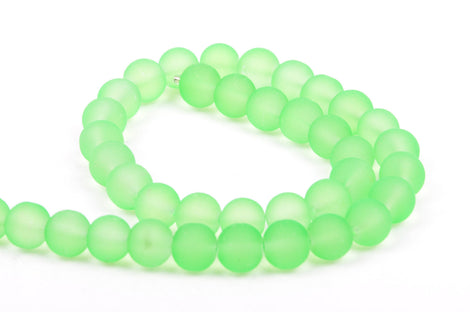 10mm Frosted NEON GREEN Glass Beads, full strand, about 40 beads,  bgl1158