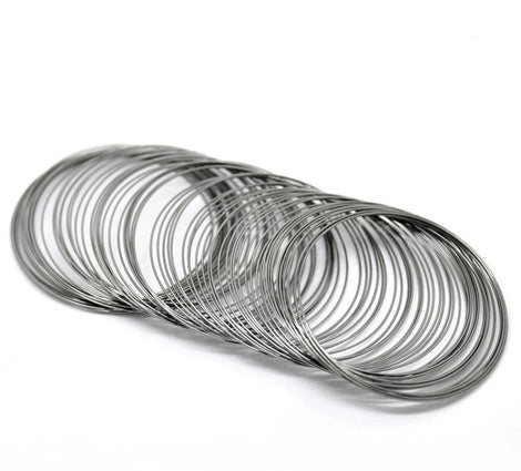 "200 Gunmetal Steel Memory Wire Loops, 55mm, 22 gauge, small bracelet, about 2.25"" diameter  wir0020"