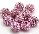 4 PINK Polymer Clay and Pave' Rhinestone Round Beads, 8mm  pol0117a