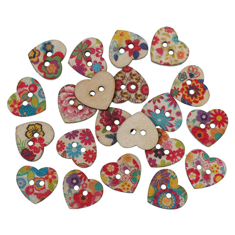 "25 Painted WOOD HEART BUTTONS  25mm, 1"" for Scrapbooking . Beading . Sewing  but0229"