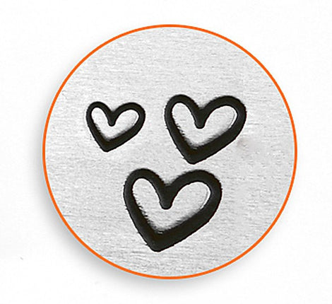 3 ImpressArt Metal Design Stamps, 3-pack of hearts, 1.5mm, 2mm, 3mm tol0335