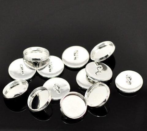 10 Bright Silver Plated Round Circle CABOCHON Setting Bezel Frame Shank Button Covers (fits 12mm cabs)  but0232