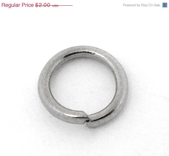 50 Silver Tone Open Jump Rings 7mm x 1mm, 18 gauge wire  jum0040a