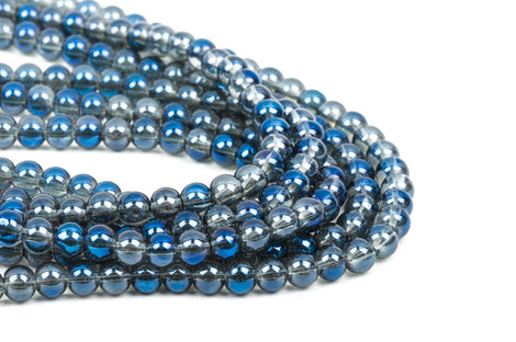 "6mm MYSTIC BLUE AB Round Glass Pearl Beads, 10.5"" strand about 50 beads  bgl1169"