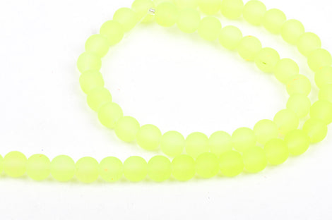 6mm Frosted NEON BRIGHT YELLOW Glass Beads, full strand, about 70 beads,  bgl1195