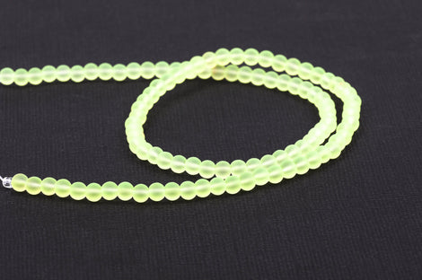 4mm Frosted NEON BRIGHT YELLOW Glass Beads, full strand, about 100 beads,  bgl1192