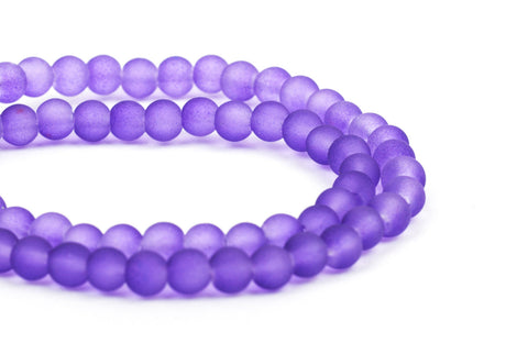 6mm Frosted GRAPE PURPLE Glass Beads, full strand, about 70 beads,  bgl1198
