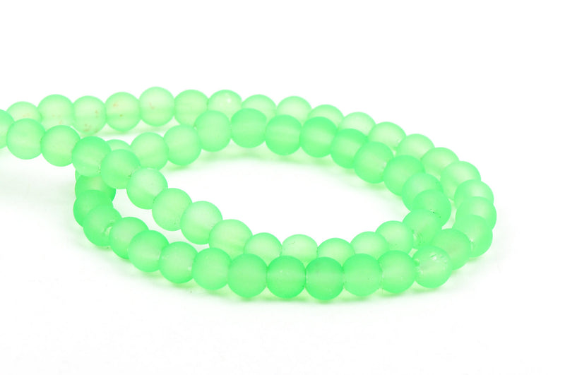 6mm Frosted NEON LIME GREEN Glass Beads, full strand, about 70 beads,  bgl1197