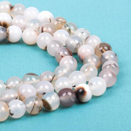 8mm Round WHITE CHOCOLATE AGATE Beads, non-faceted, full strand, about 50 beads, Natural Gemstones gag0155